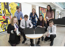 Pic shows l to r: Kayleigh Fleming (14). BT Cyber Security Apprentice, Ewan McDonald. Ewan McDonald. Shaun Conroy (15). Shirley-Anne Somerville MSP. Courtney Hunter (14). BT Cyber Security Apprentice, Leah Robertson (21). Zander Walker (16).