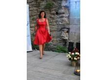 Eva Nordmark på modevisning i Almedalen