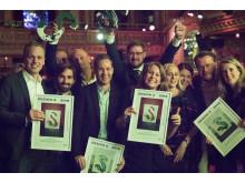 Lyckliga vinnare på årets Design S gala, Screen Interaction tillsammans med Länsförsäkringar AB
