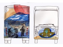 Skiss ny biblioteksbuss, baksida och framsida