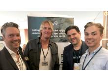 Hannes Rydell samt tre av grundarna