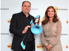 Innovation of the Year Award winner, Steven Greenall, with Nectar Business Small Business Awards judge, Karren Brady