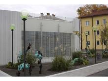 Konst utanför Skandionkliniken i Uppsala, dagtid