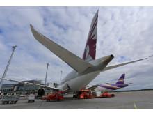 Fly parkert ved Oslo Lufthavn