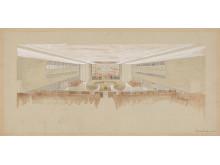 Utkast til innredning av Sikkerhetsrådets sal, 1949 arkitekt Arnstein Arneberg.