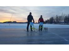 Soluppgång på isbanan i Piteå