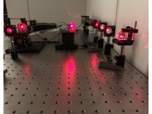 An image of the laser setup in the lab
