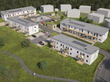Översiktsillustration av det nya kvarteret BoKlok Lillgården i Mariefred.
