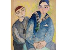 Sigrid Hjertén, Sicke och Svenne, 1917, olja och krita på papp-pannå, 81 x 72 cm