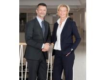 Urban Englund, styrelseordförande Praktikertjänst, och Carina Olson, vd och koncernchef, Praktikertjänst.