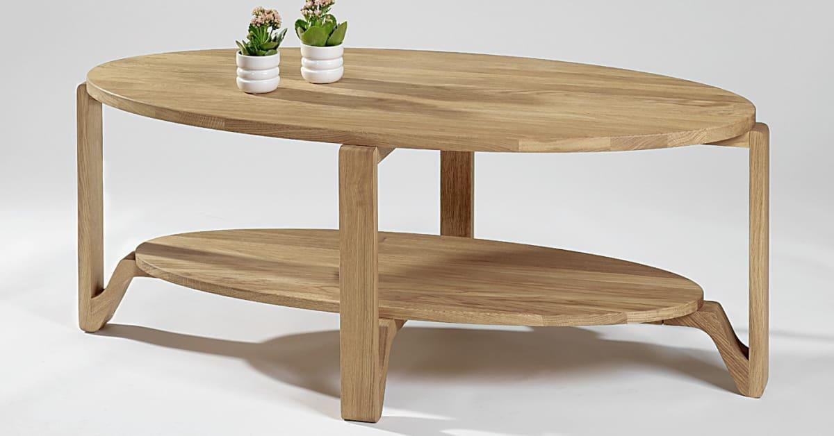 Soffbord Eslöv, ovalt soffbord i massiv oljad ek Mått 120×60 cm Helgbutiken se