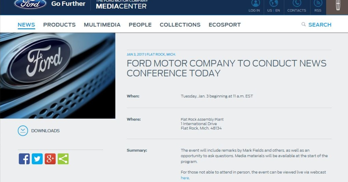 Ford motor company to conduct news conference today kl 17 for Ford motor company news