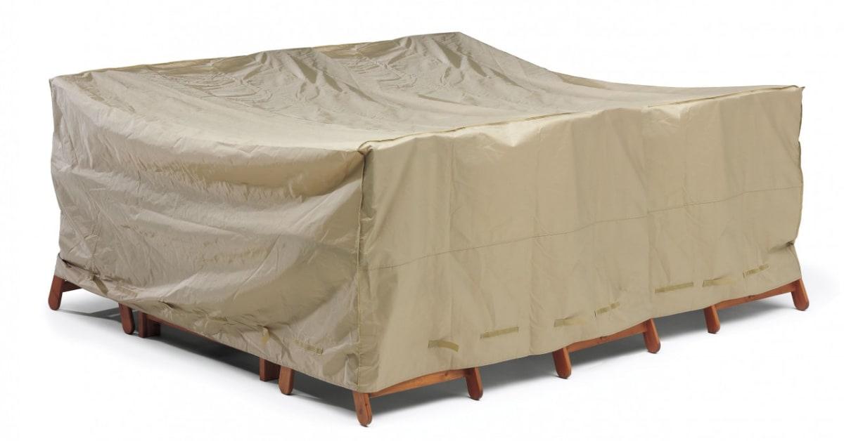 Regnskydd För Bord + 6 Stolar I Beige Polyester Plast Praktiskt Helgbutiken Se