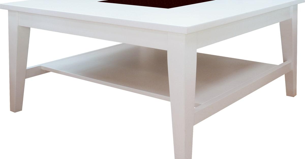 Vitt fyrkantigt soffbord Freja, vardagsrumsbord med granitskiva ...