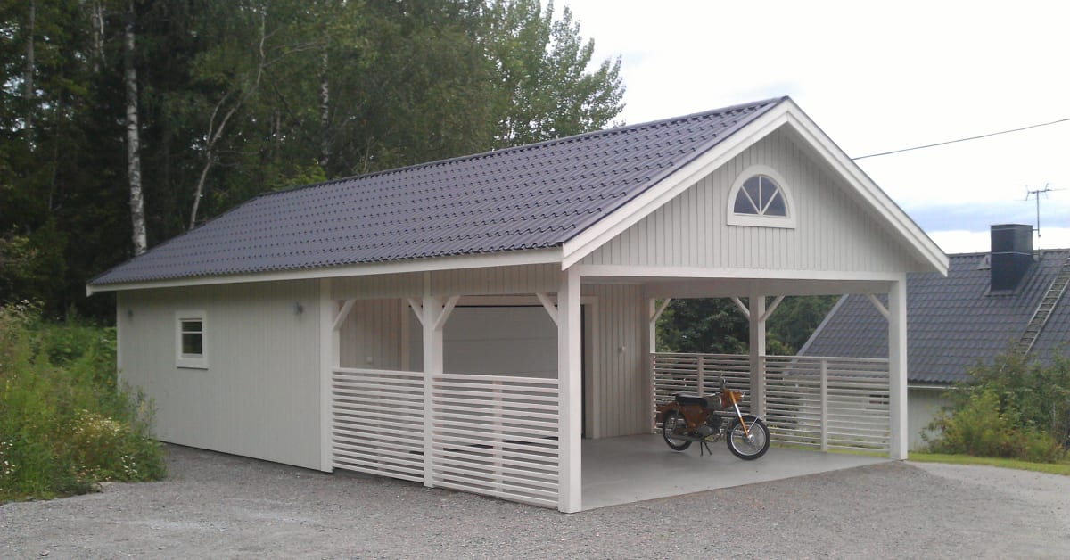Garage med carport l v ngers bygg for Tractor garage plans