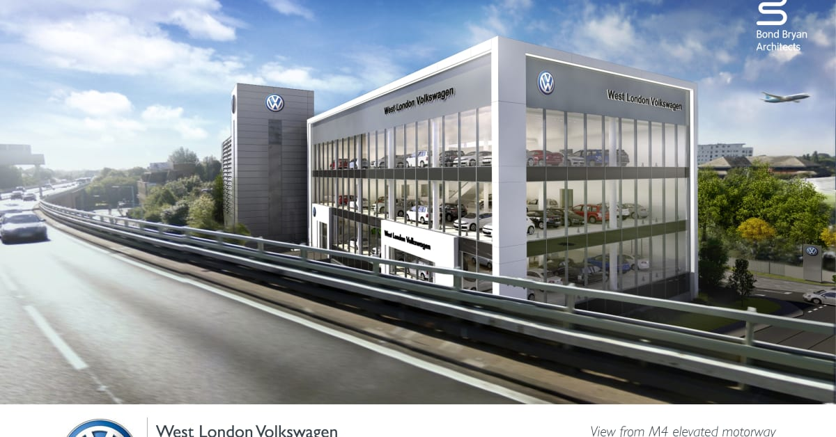 joining bricks and clicks vw 39 s flagship west london site takes shape volkswagen uk. Black Bedroom Furniture Sets. Home Design Ideas