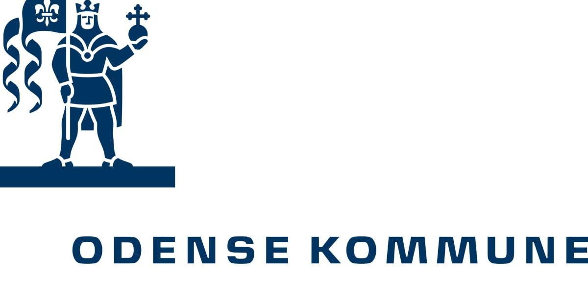 Sct. Knud-logo med Odense Kommune-navnetræk i blå farve til brug... - Odense Kommune
