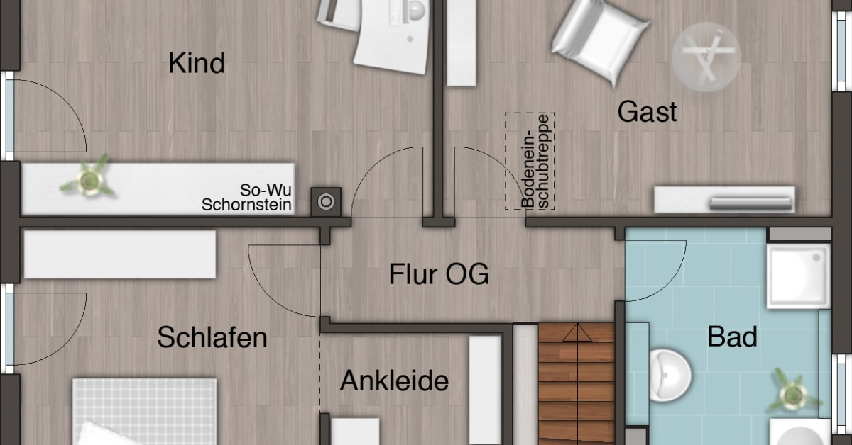 grundriss obergeschoss stadthaus flair 152 re town country haus lizenzgeber gmbh. Black Bedroom Furniture Sets. Home Design Ideas