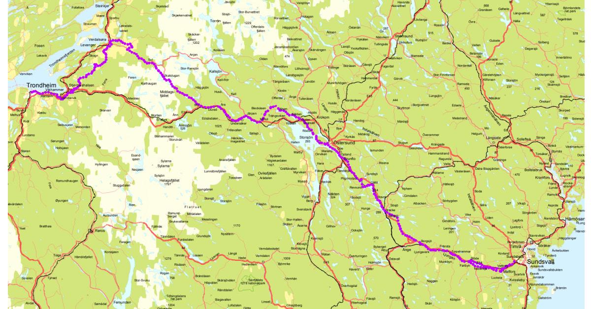 Karta S T Olavsleden Sverige Norge S T Olavsleden