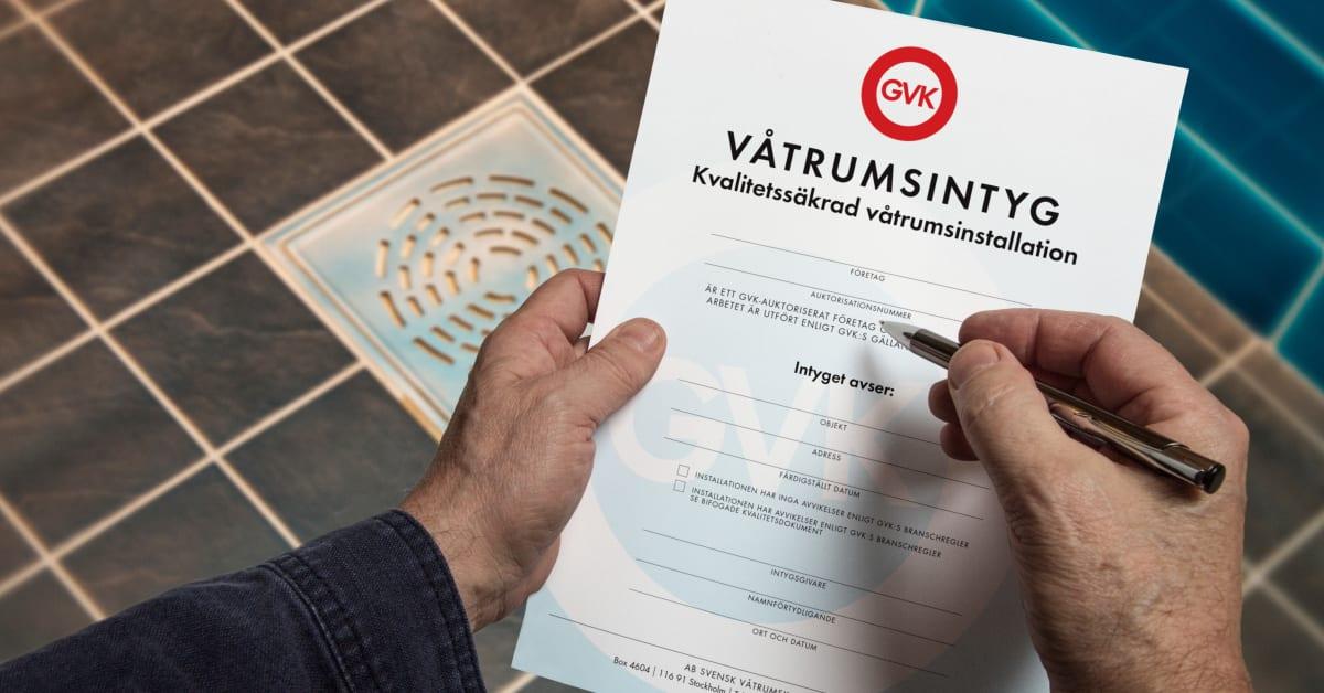 Våtrumsintyg en värdehandling   gvk svensk våtrumskontroll