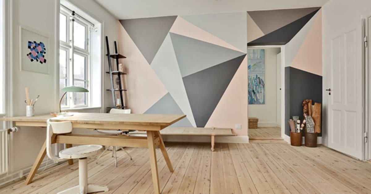 Måla ett eget stort grafiskt mönster på väggarna Happy Homes