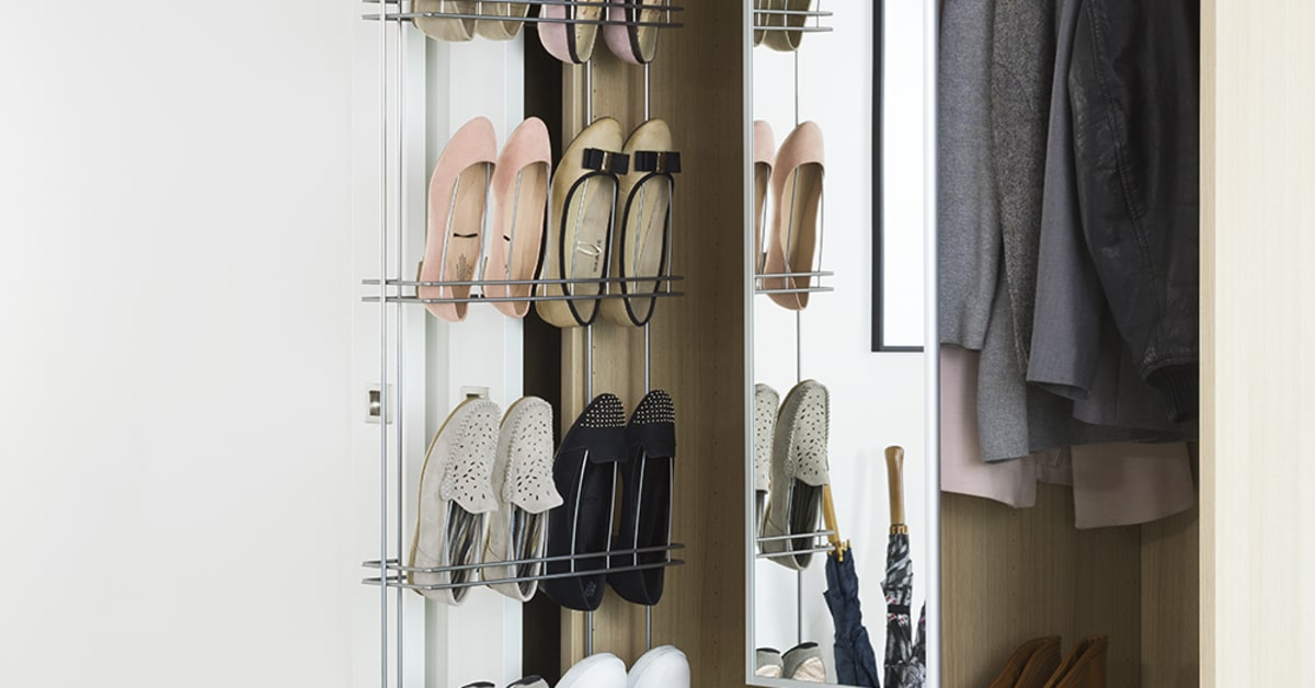 Mirro, utdragbar skohylla och spegel Mirro