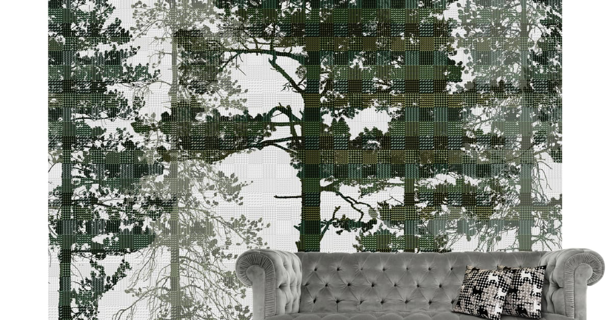 Scandinavian Surface Weaving Wood Dark Photowall