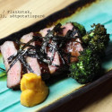 Furankusutêku / Flankstek, sparrisbroccoli och sötpotatispuré