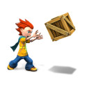 Oliver throwing a crate