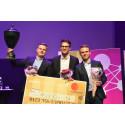 SM i Ekonomi med vinnande lag från Linköpings universitet från vänster Erik Almgren, Nils Schönning och Rickard Björkman