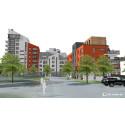 170 bostäder planeras i kvarteret Fabriken. Bild: LBE Arkitekter.