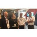 L-R, Piet de Wolf, Laurina van der Maas, Martin Wijs of De Wolf and Joel Reid,  Global Sales Director, Cox Powertrain