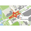 Byggnation för bättre trafikflöde vid Madängen i Huskvarna