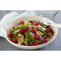 Sommerlig salat med couscous, bringebær og sukkererter