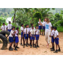 "Letter ""J"" of the first ever human alphabet to be photographed with 500 kids in Sri Lanka"