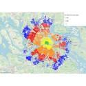 70 procent av invånarna i Stockholms län kan cykla till jobbet på under 30 minuter