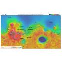 Landningsplatser på Mars Oxia Planum (18.3N, 335.3E) och Mawrth Vallis (22.6N, 16.5W).