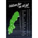 Oddsen pekar på en grön jul söder om Gävle