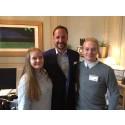 Hedda Sofie og Jostein på gründerkonferanse med Kronprins Haakon