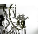 Detalj Badrumskristallkrona polerad mässing med handslipad kristall löv och blommor