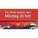 Pac Butik öppnar igen måndag 20 februari!