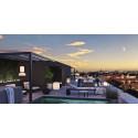 Unika penthouse med egen pool, utedusch, pergola och trädgård i Haga Nova tornhus
