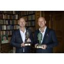 Richard och Christoffer Bergfors mottar Albert Bonniers pris Årets företagare 2018