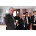 CEO Mats Fägerhag invigningstalar i de nya lokalerna på Innovatum.