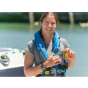 Hi-res image - Ocean Signal - Lia Ditton with the Ocean Signal rescueME PLB1 personal locator beacon