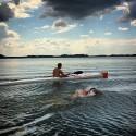 Jonas Colting har nu simmat 530 kilometer av Sverigesimmet mellan Stockholm och Göteborg