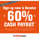 Receive 60% cash payout when businesses sign up with Mynewsdesk