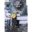 Liverpool residents jump on board the 'Vision Van' as it rolls into Liverpool One offering free eye tests for all
