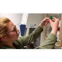 Anna Ottenhall, forskarstuderande vid skolan för kemivetenskap vid KTH, visar två provrör med vatten. Ett av dem, det vänstra, innehåller vatten renat av det bakteriedödande materialet.