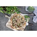 Pizza med broccoli och karamelliserad lök